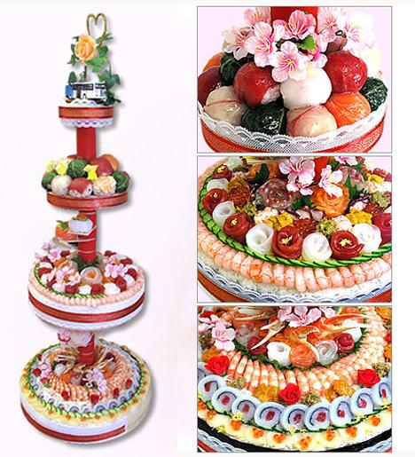 sushi wedding cake cooking with kathy man. Black Bedroom Furniture Sets. Home Design Ideas